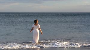 Woman into sea